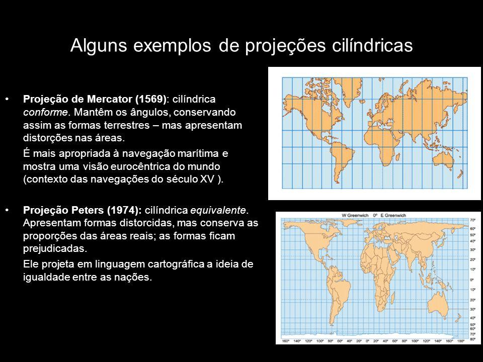 Alguns exemplos de projeções cilíndricas