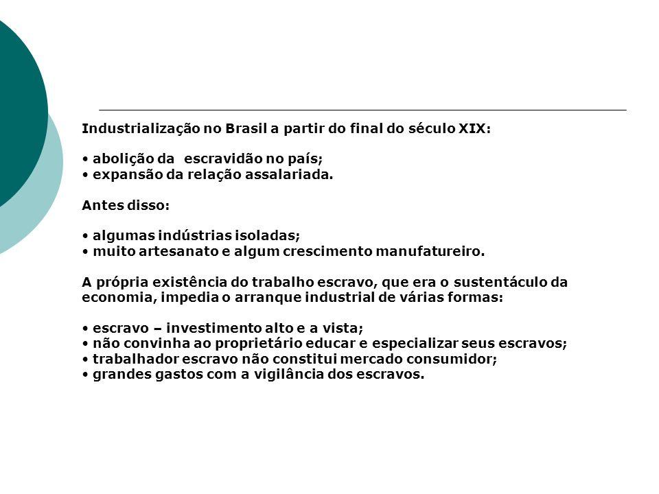 Industrialização no Brasil a partir do final do século XIX: