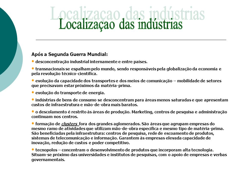 Localizaçao das indústrias