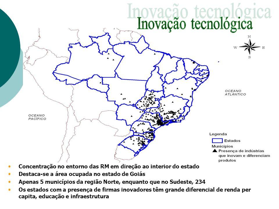 Inovação tecnológica Concentração no entorno das RM em direção ao interior do estado. Destaca-se a área ocupada no estado de Goiás.