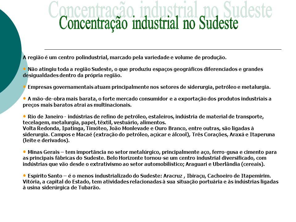 Concentração industrial no Sudeste