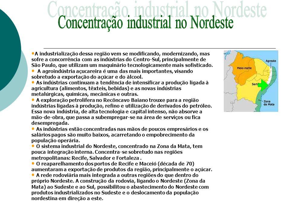 Concentração industrial no Nordeste