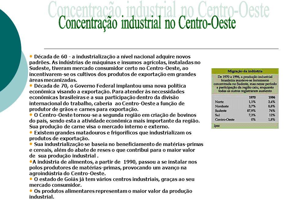 Concentração industrial no Centro-Oeste