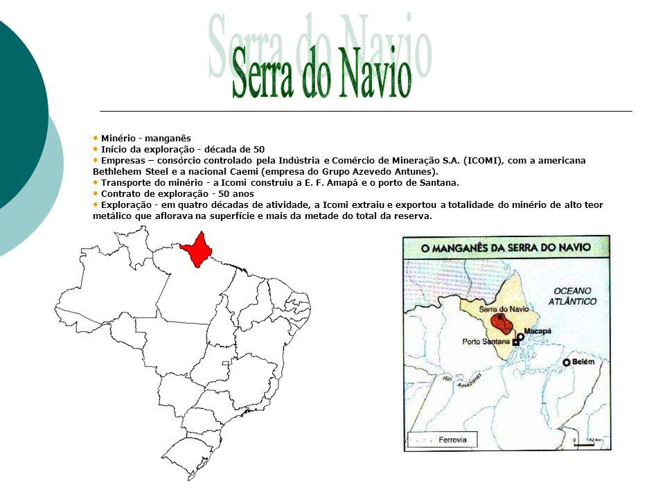 Serra do Navio Minério - manganês Início da exploração - década de 50