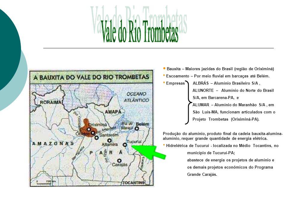 Vale do Rio Trombetas Bauxita – Maiores jazidas do Brasil (região de Oriximiná) Escoamento – Por meio fluvial em barcaças até Belém.