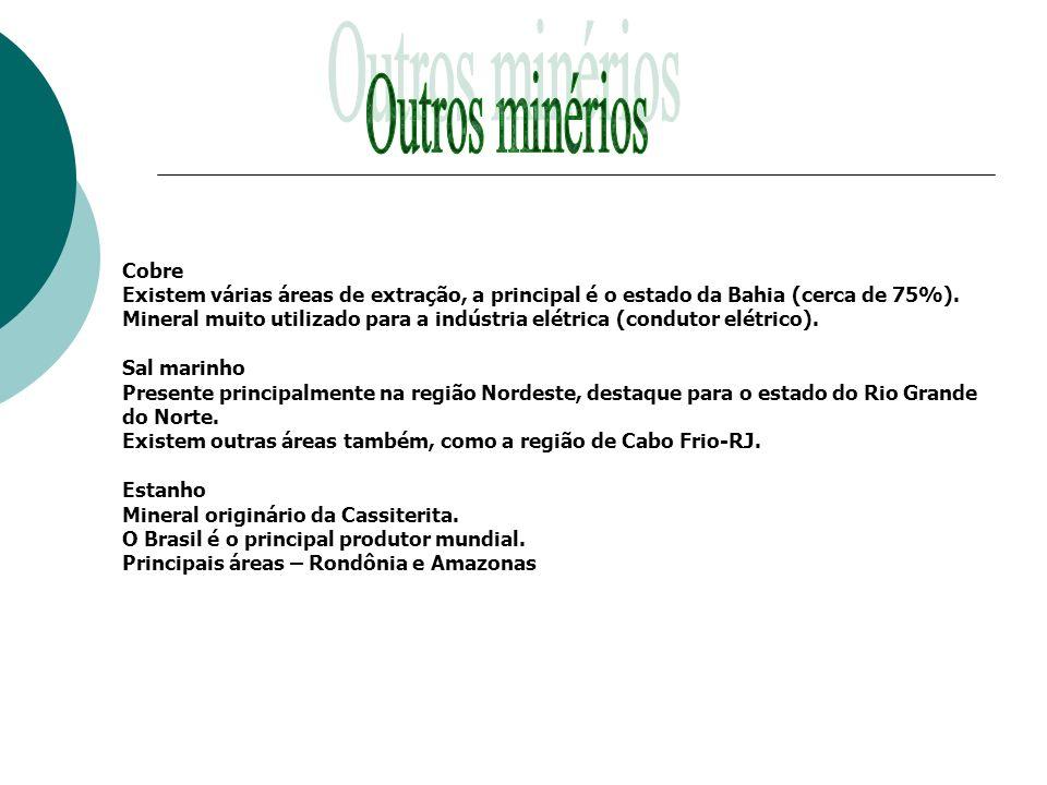 Outros minérios Cobre. Existem várias áreas de extração, a principal é o estado da Bahia (cerca de 75%).