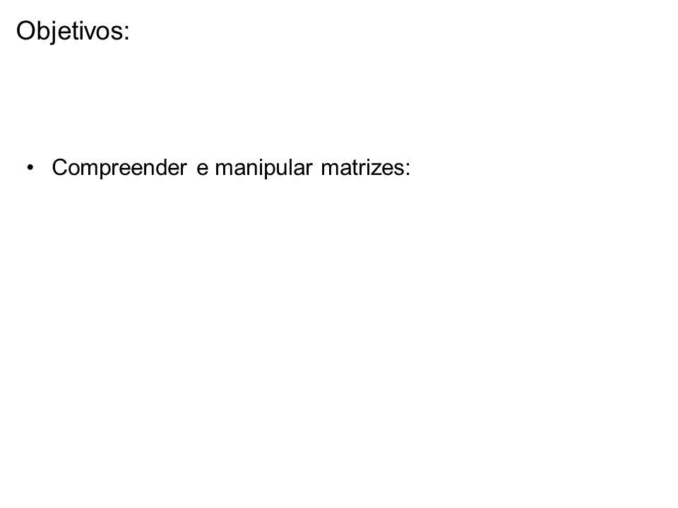 Objetivos: Compreender e manipular matrizes: