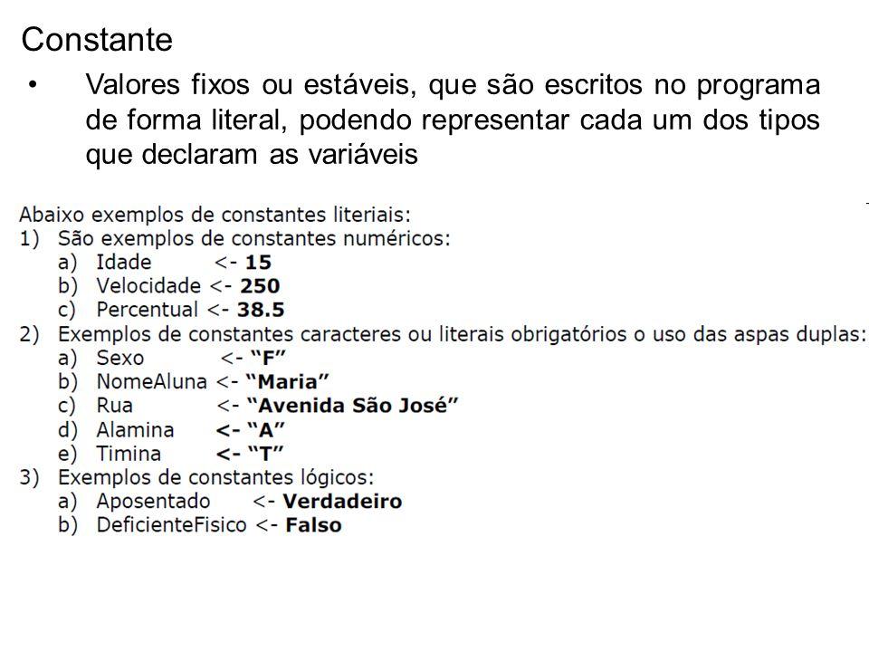 Constante Valores fixos ou estáveis, que são escritos no programa de forma literal, podendo representar cada um dos tipos que declaram as variáveis.