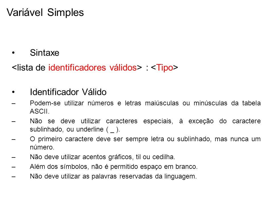Variável Simples Sintaxe