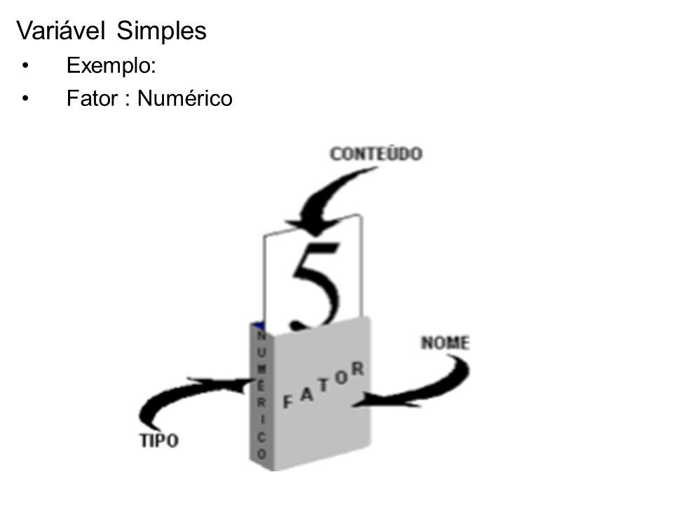 Variável Simples Exemplo: Fator : Numérico