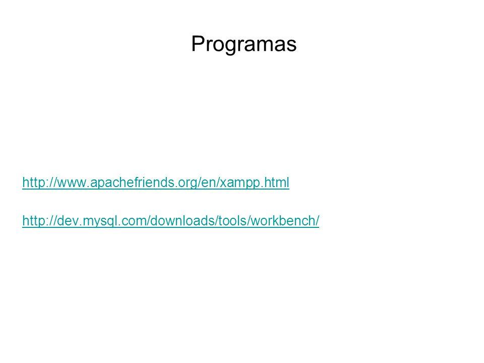Programas http://www.apachefriends.org/en/xampp.html