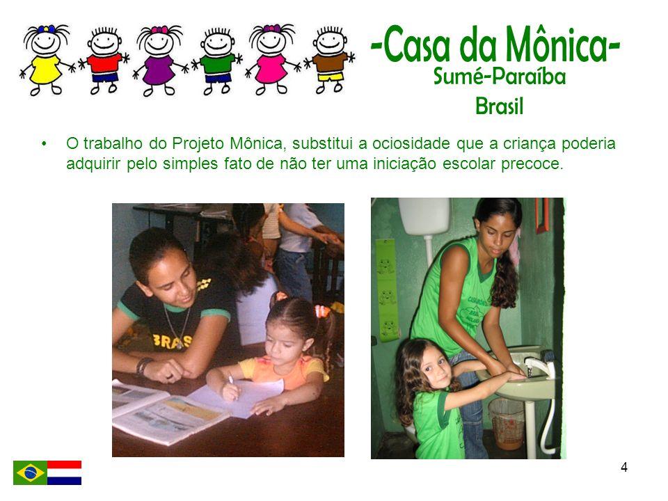 O trabalho do Projeto Mônica, substitui a ociosidade que a criança poderia adquirir pelo simples fato de não ter uma iniciação escolar precoce.
