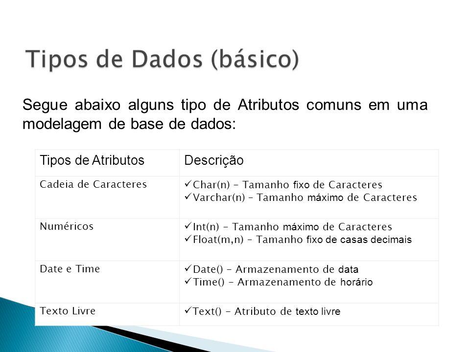 Segue abaixo alguns tipo de Atributos comuns em uma modelagem de base de dados: