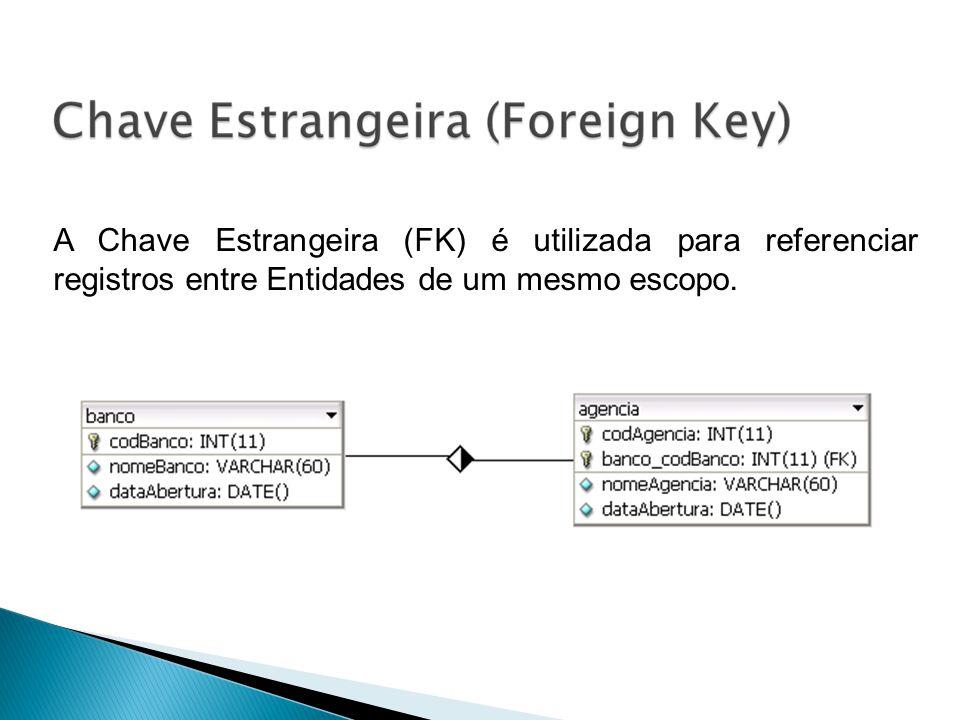 A Chave Estrangeira (FK) é utilizada para referenciar registros entre Entidades de um mesmo escopo.