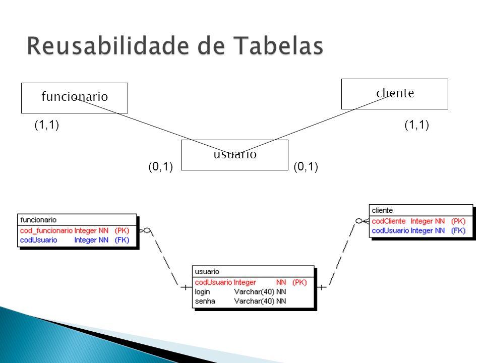 cliente funcionario (1,1) (1,1) usuario (0,1) (0,1)