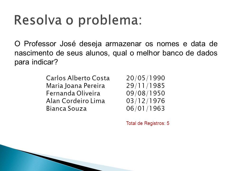 O Professor José deseja armazenar os nomes e data de nascimento de seus alunos, qual o melhor banco de dados para indicar