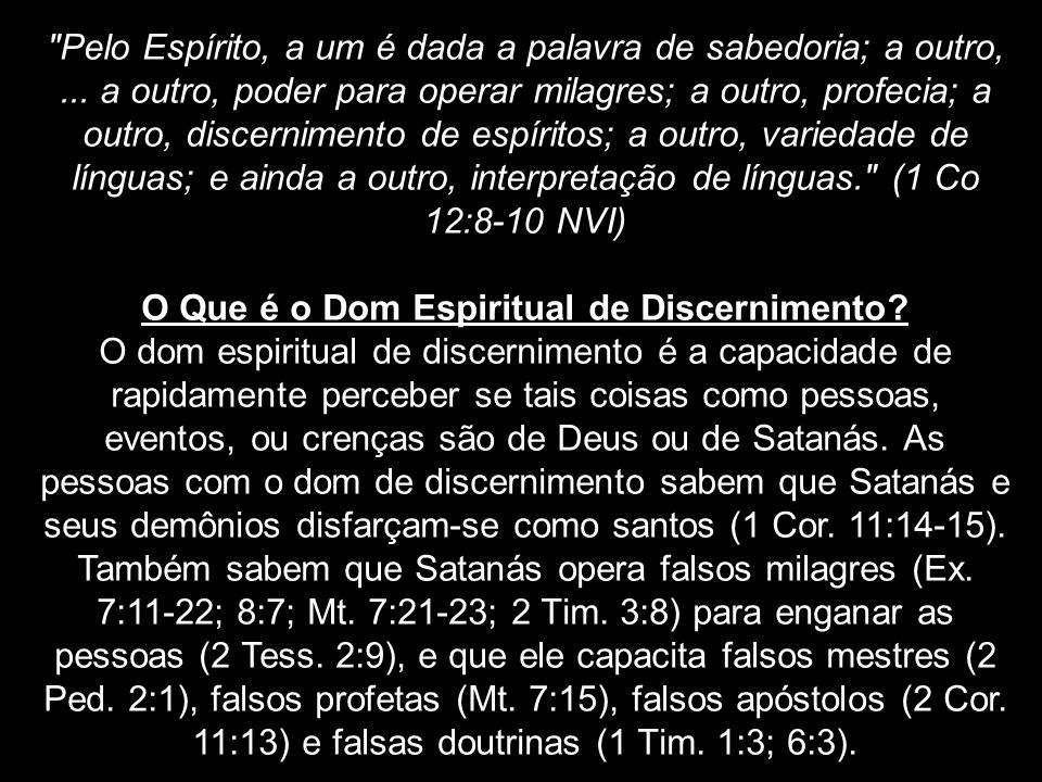 O Que é o Dom Espiritual de Discernimento