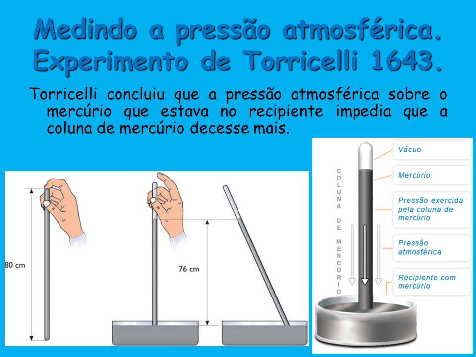 Medindo a pressão atmosférica. Experimento de Torricelli 1643.