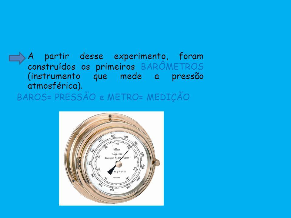 A partir desse experimento, foram construídos os primeiros BARÔMETROS (instrumento que mede a pressão atmosférica).