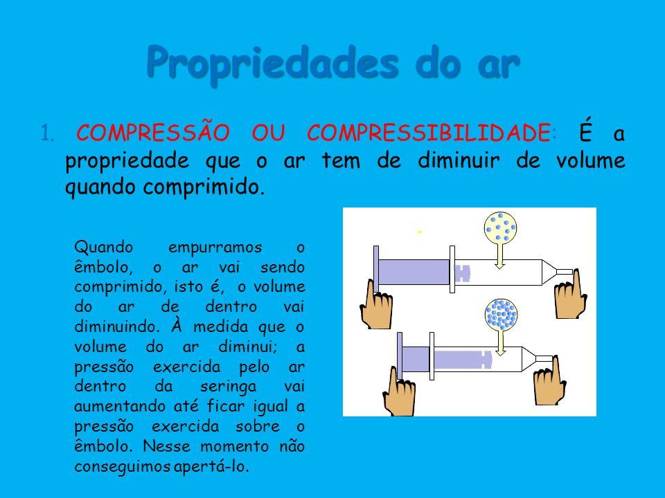 Propriedades do ar 1. COMPRESSÃO OU COMPRESSIBILIDADE: É a propriedade que o ar tem de diminuir de volume quando comprimido.