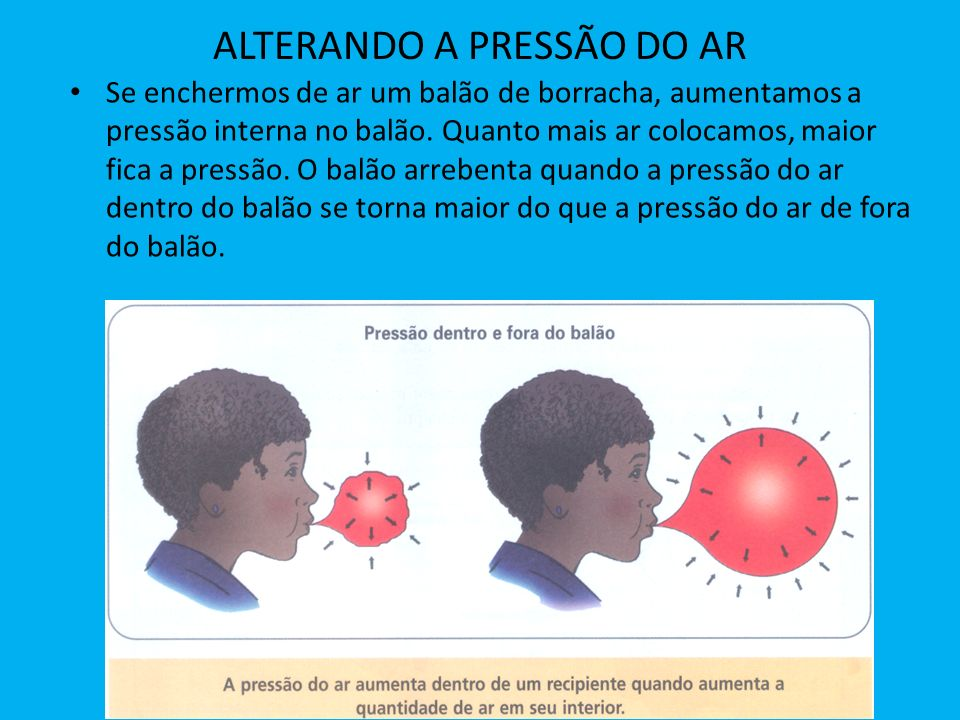 ALTERANDO A PRESSÃO DO AR