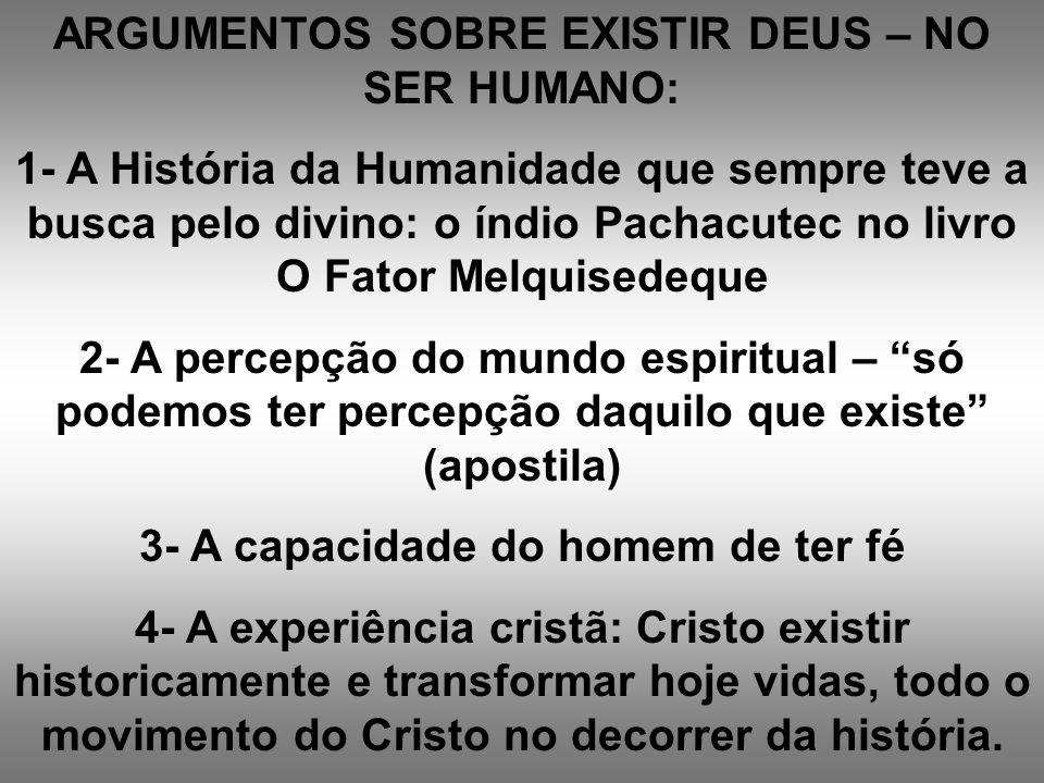 ARGUMENTOS SOBRE EXISTIR DEUS – NO SER HUMANO: