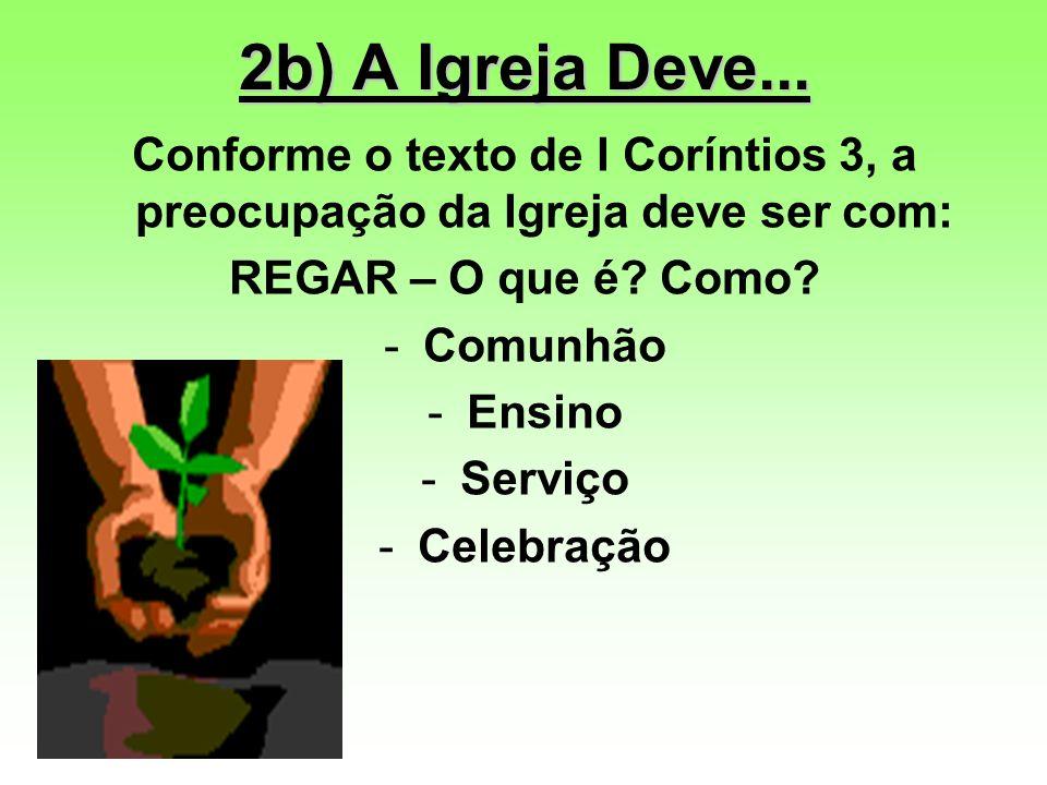 2b) A Igreja Deve... Conforme o texto de I Coríntios 3, a preocupação da Igreja deve ser com: REGAR – O que é Como
