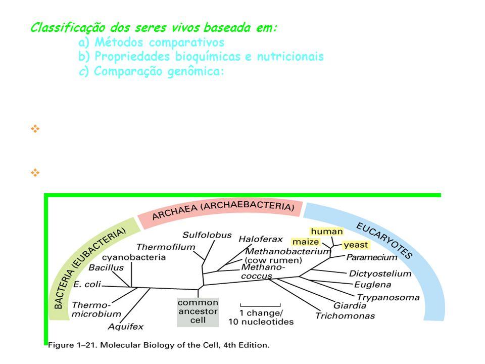Classificação dos seres vivos baseada em: a) Métodos comparativos