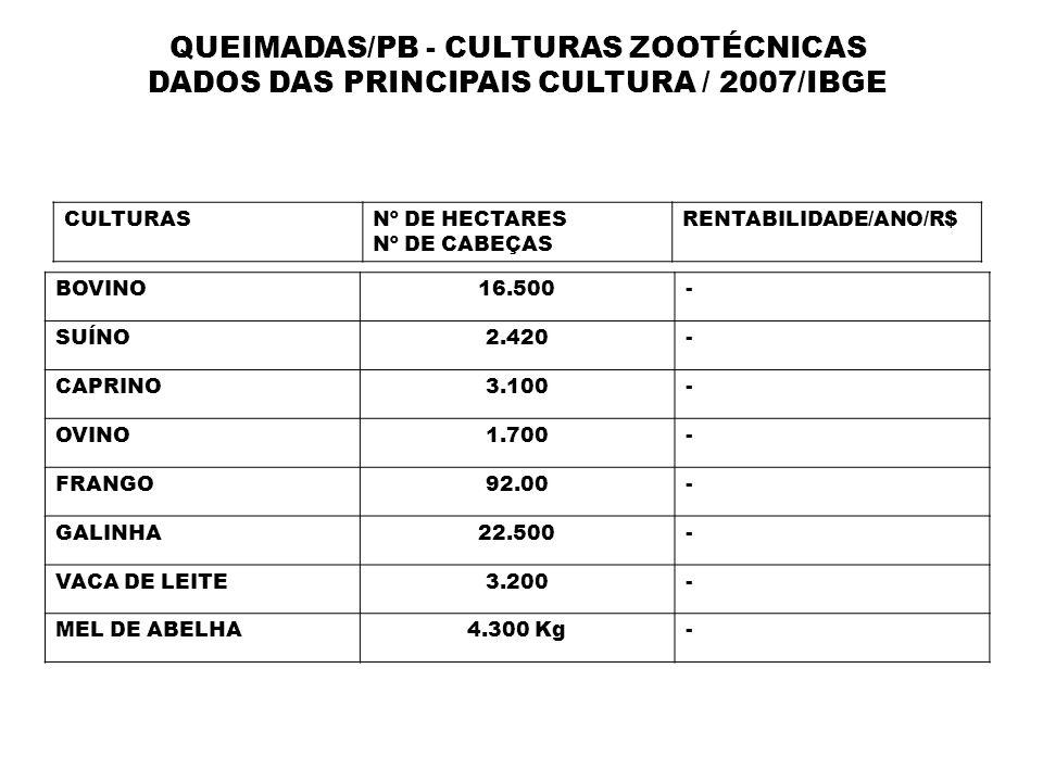 QUEIMADAS/PB - CULTURAS ZOOTÉCNICAS