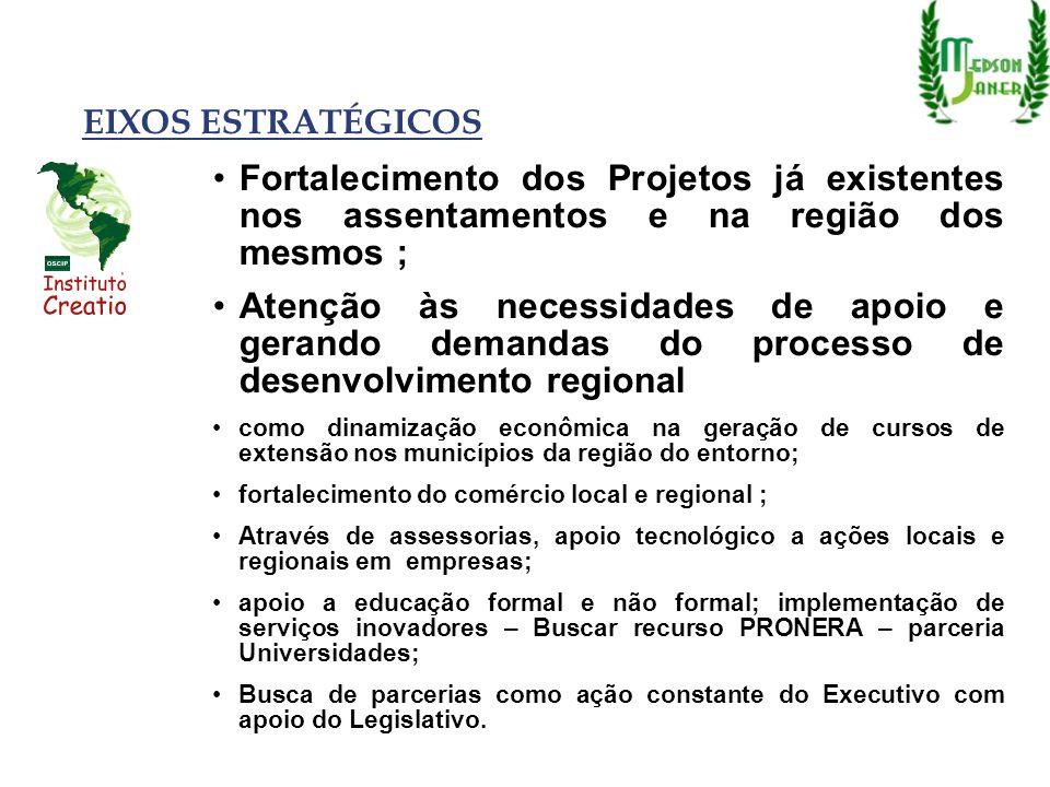 EIXOS ESTRATÉGICOSFortalecimento dos Projetos já existentes nos assentamentos e na região dos mesmos ;