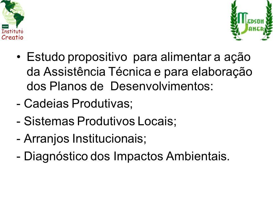 Estudo propositivo para alimentar a ação da Assistência Técnica e para elaboração dos Planos de Desenvolvimentos: