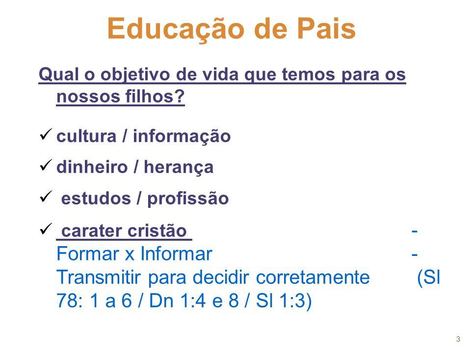 3 Educação de Pais. Qual o objetivo de vida que temos para os nossos filhos cultura / informação.