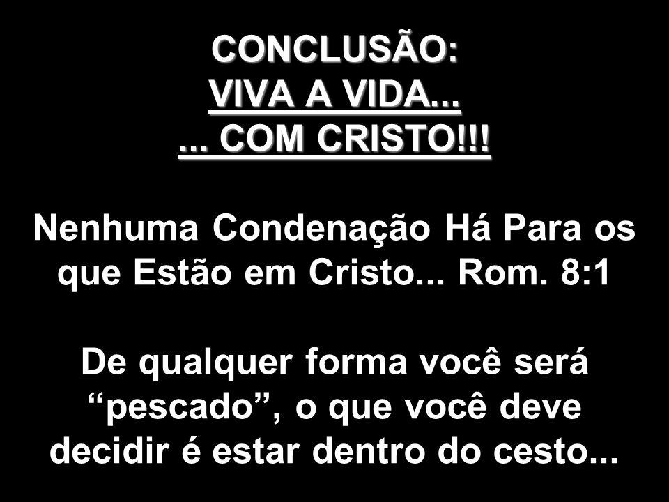 CONCLUSÃO: VIVA A VIDA. COM CRISTO