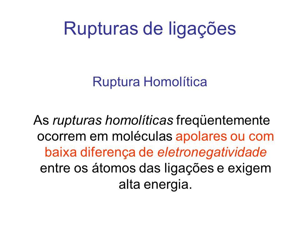 Rupturas de ligações Ruptura Homolítica