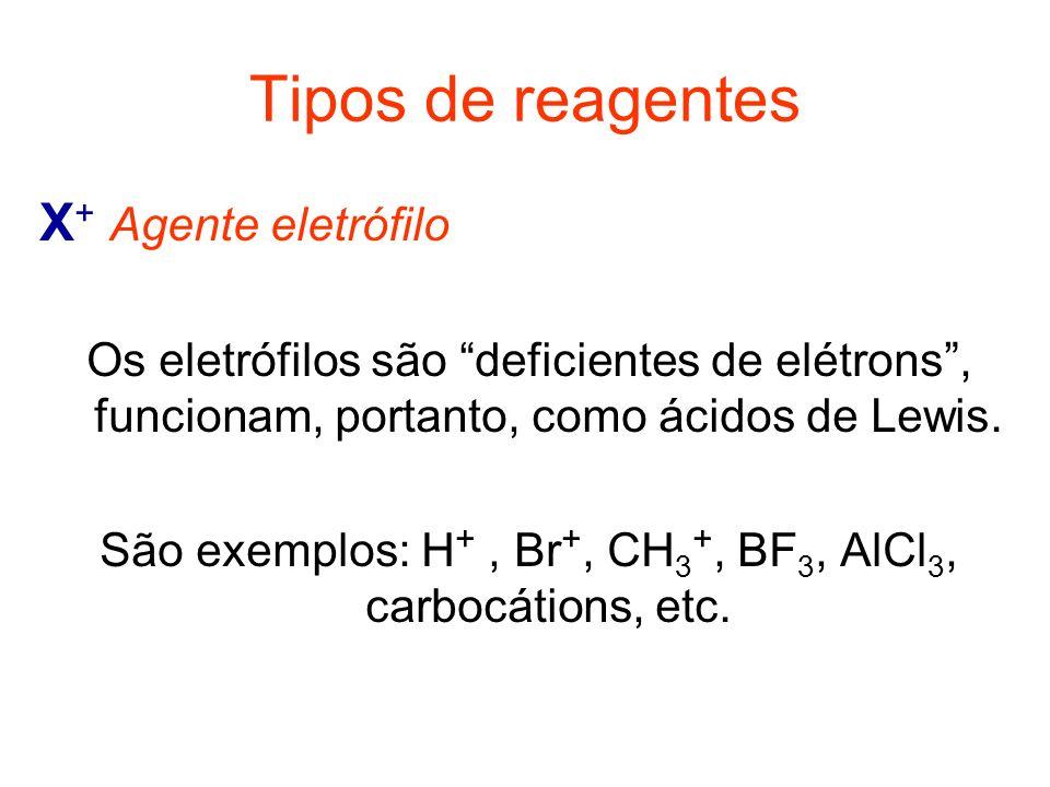 São exemplos: H+ , Br+, CH3+, BF3, AlCl3, carbocátions, etc.