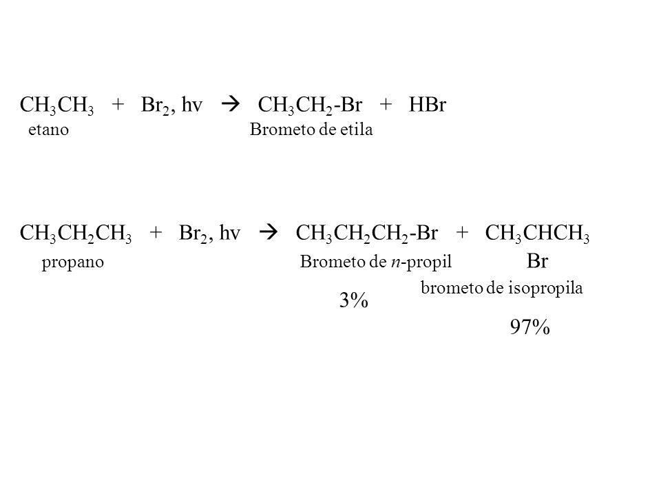 CH3CH3 + Br2, hv  CH3CH2-Br + HBr