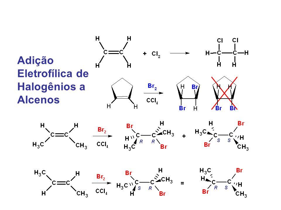 Adição Eletrofílica de Halogênios a Alcenos