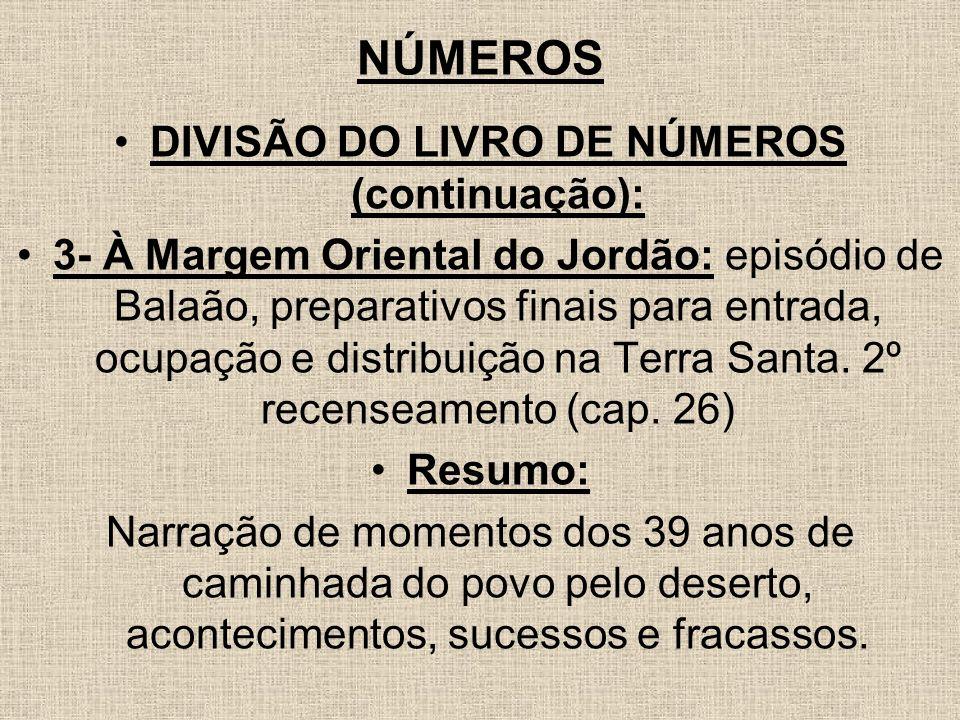 DIVISÃO DO LIVRO DE NÚMEROS (continuação):