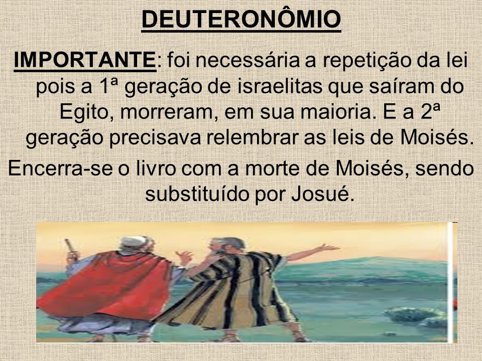 Encerra-se o livro com a morte de Moisés, sendo substituído por Josué.