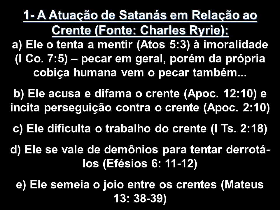 1- A Atuação de Satanás em Relação ao Crente (Fonte: Charles Ryrie):