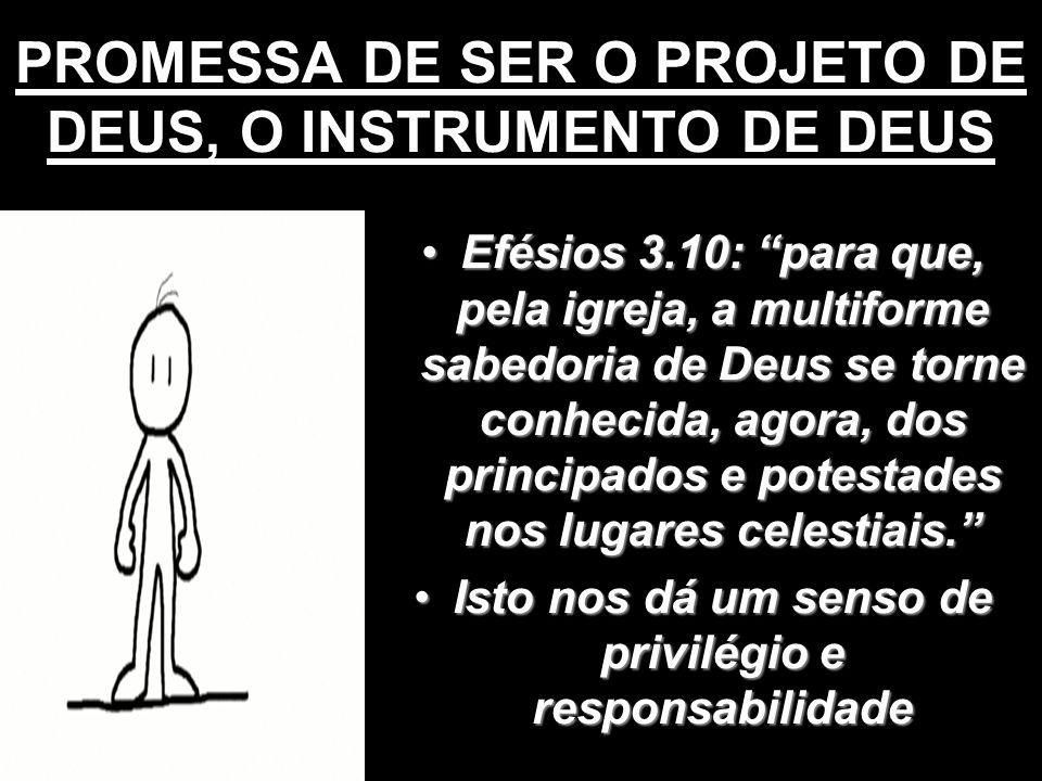 PROMESSA DE SER O PROJETO DE DEUS, O INSTRUMENTO DE DEUS