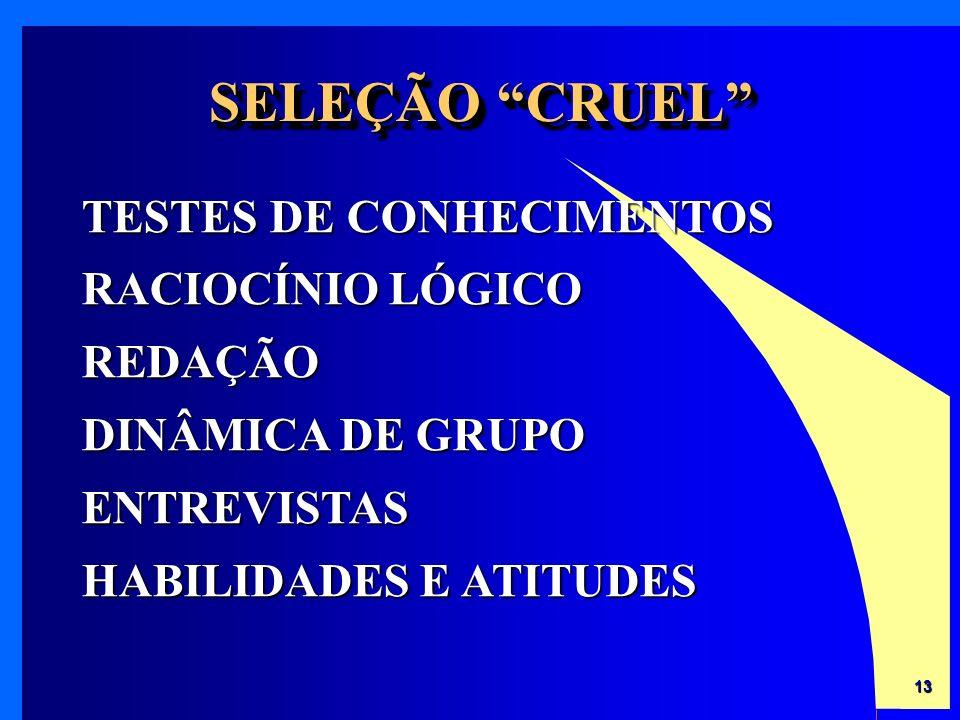 SELEÇÃO CRUEL TESTES DE CONHECIMENTOS RACIOCÍNIO LÓGICO REDAÇÃO DINÂMICA DE GRUPO ENTREVISTAS HABILIDADES E ATITUDES.