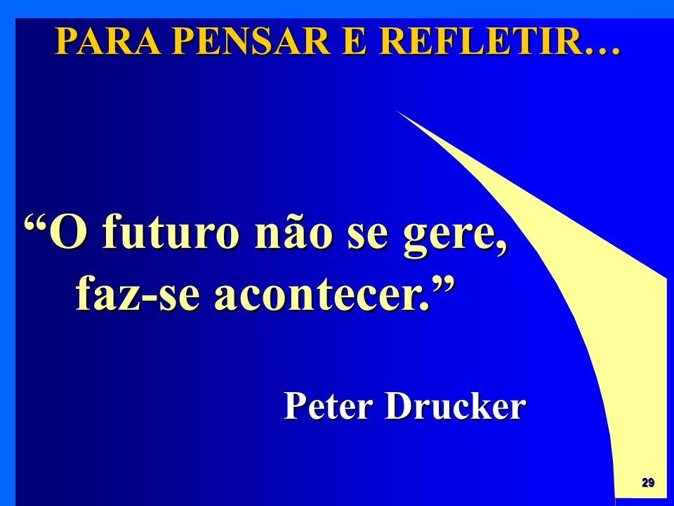 PARA PENSAR E REFLETIR… O futuro não se gere, faz-se acontecer.