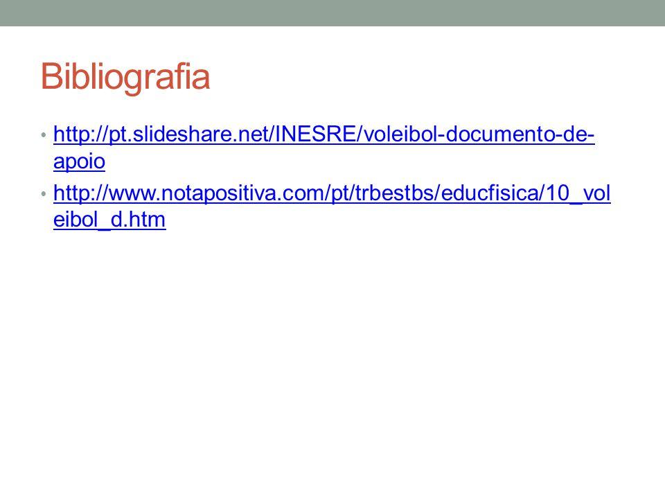 Bibliografia http://pt.slideshare.net/INESRE/voleibol-documento-de-apoio.
