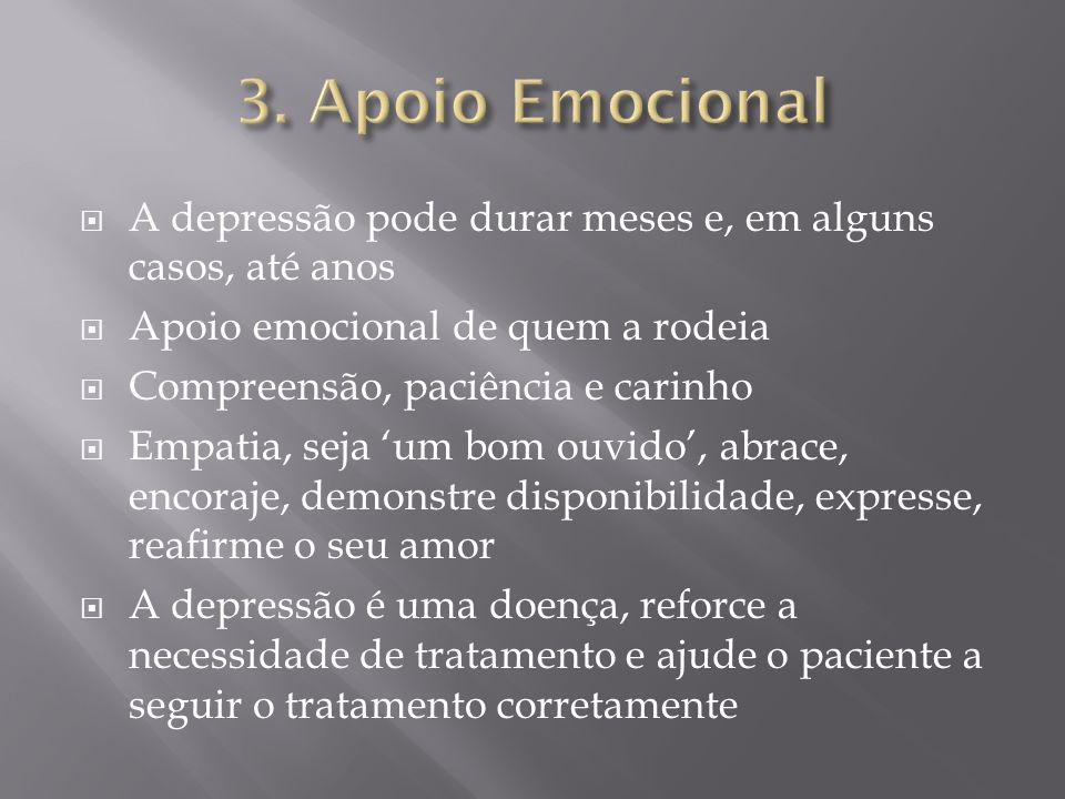 3. Apoio EmocionalA depressão pode durar meses e, em alguns casos, até anos. Apoio emocional de quem a rodeia.
