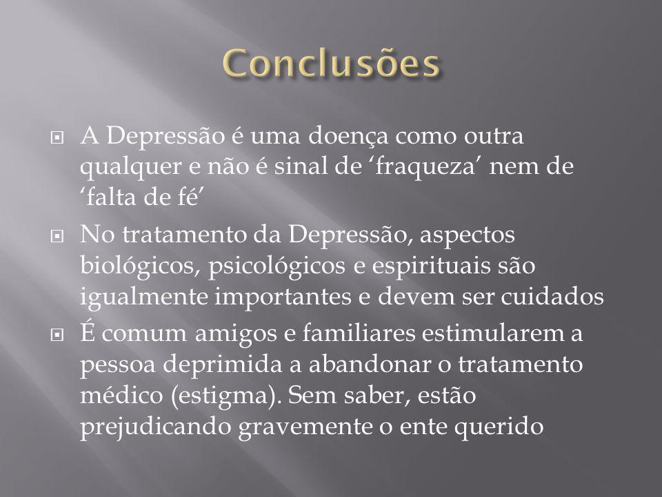ConclusõesA Depressão é uma doença como outra qualquer e não é sinal de 'fraqueza' nem de 'falta de fé'