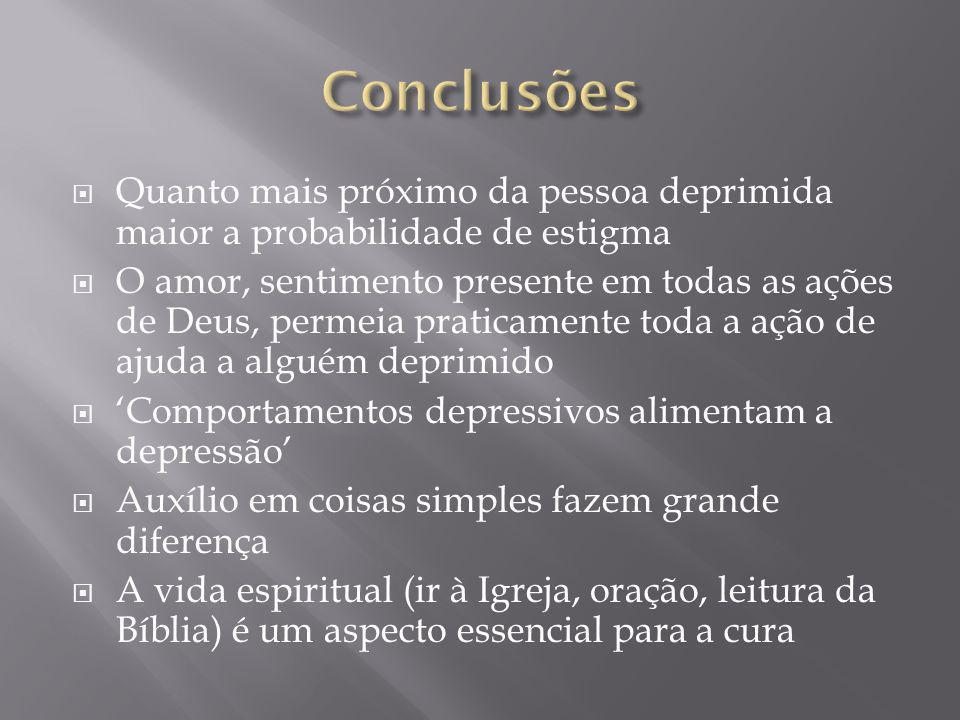 Conclusões Quanto mais próximo da pessoa deprimida maior a probabilidade de estigma.