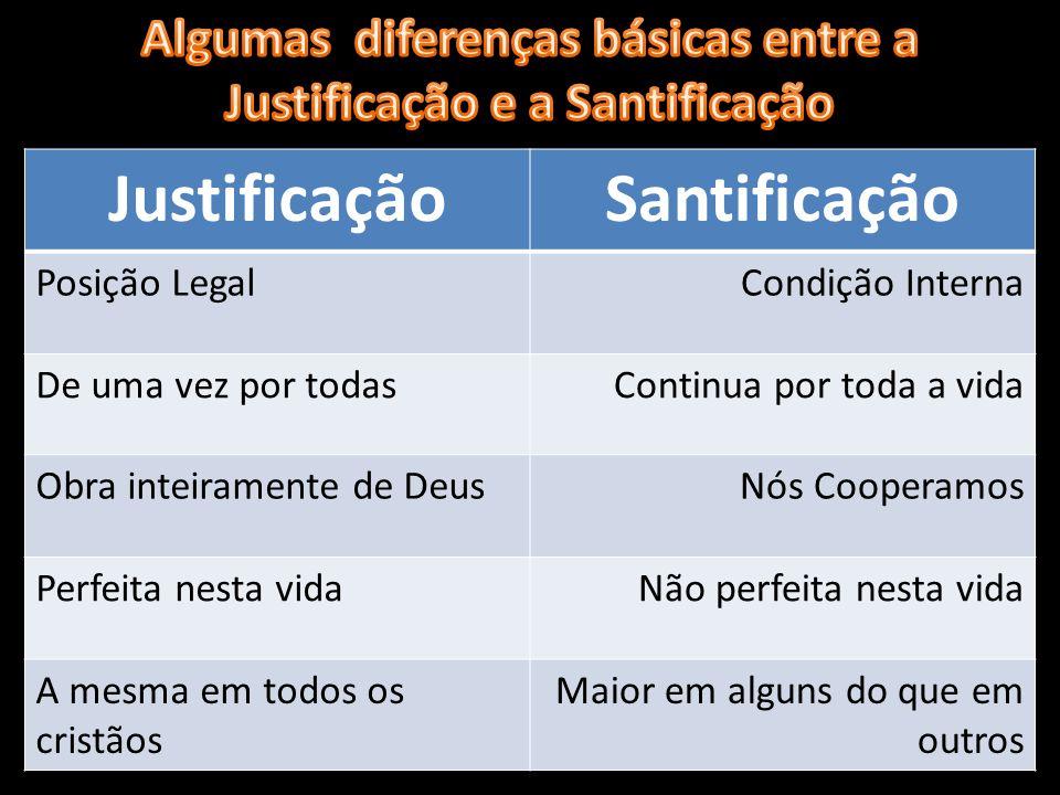 Algumas diferenças básicas entre a Justificação e a Santificação