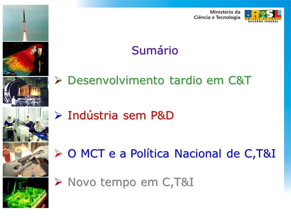 Sumário Desenvolvimento tardio em C&T. Indústria sem P&D.