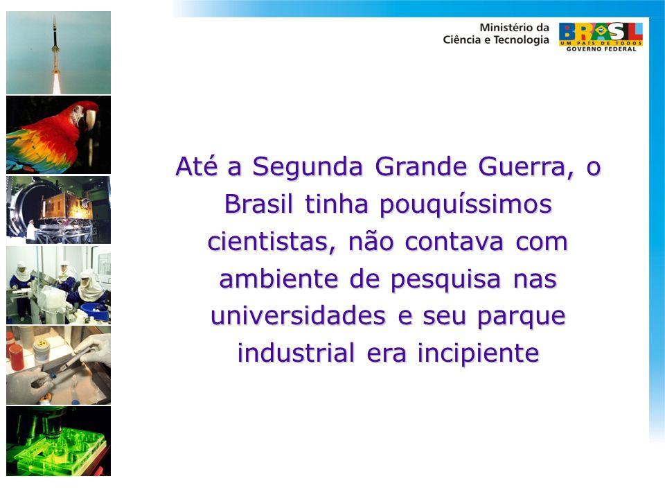 Até a Segunda Grande Guerra, o Brasil tinha pouquíssimos cientistas, não contava com ambiente de pesquisa nas universidades e seu parque industrial era incipiente